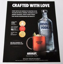 CRAFTED WITH LOVE Absolut Vodka Magazine Ad - $6.99