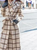 Women's Beige Khaki Plaid Full Length Winter Trench Coat image 3
