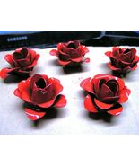 FIVE medium metal RED rose flowers for accents, embellishments, crafting - $24.98