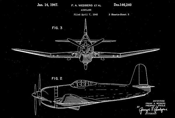 Primary image for 1947 - Airplane #2 - F. A. Wedberg - Patent Art Poster