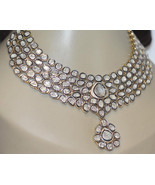 Wedding Victorian Inspir. 18.56Ct. Antique Cut Diamond Silver Polki Neck... - $3,103.16