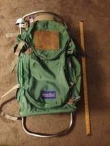 Vtg Jansport External Frame Backpack Hip Wings Hiking Camping Brown Leather - $127.71