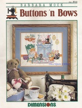 Buttons 'n Bows, Dimensions Cross Stitch Pattern Booklet 185 by Barbara Mock  - $4.95