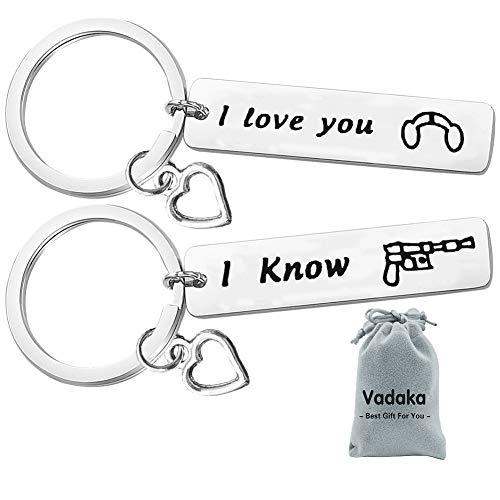 Couple Gifts for Boyfriend and Girlfriend,I Love You I Know Keychain Set Couple