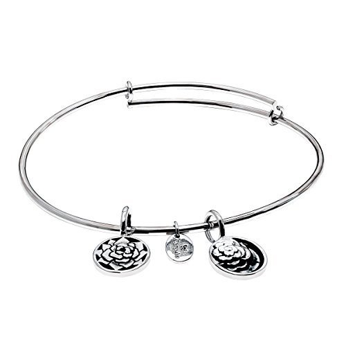 Chrysalis 'Roses' Expandable Bangle Bracelet in Rhodium-Plated Brass