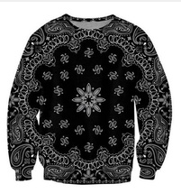 2018 Wholesale spring sweat Bandana Crewneck Sweatshirt Black Sexy Jumper Tops 3 image 6