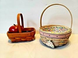 2 Vintage Longaberger Baskets White Wash 2001 Easter Plus Cute Llttle Basket - $46.55