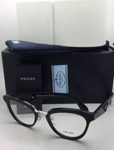 New PRADA RX-able Eyeglasses VPR 26S 1AB-1O1 51-21 Black-Silver w/ black Leather