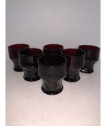 "Vintage Set of 6 Anchor Hocking Georgian Ruby Red Glasses 3 1/4"" - $20.00"