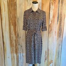 Charter Club Jersey Shirt Dress Brown White Zig Zag Chevron Button SS sz... - $13.99