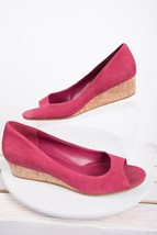 Cole Haan Womens Peep Toe Wedges Sandals Sz 10 B Cork Espadrille Pink Shoes - $39.59