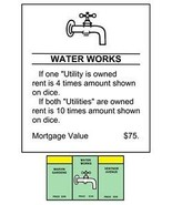 "MONOPOLY WATER WORKS TITLE DEEDS POSTER - 12"" X 18"" - REALLY COOL! - $20.59"