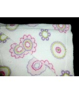 """LITTLE MIRACLES WHITE SHERPA PINK PURPLE CIRCLES FLOWERS BLANKET COSTCO 30X46"""" - $14.84"""