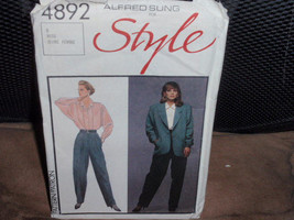 Style 4892 Misses Lined Jacket, Blouse, and Fly-Front Pants Size 8  New - Uncut - $8.00