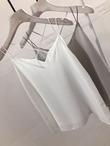 WHITE Summer Chiffon Top Sleeveless V-Neck Chiffon Tank Wedding Bridesmaid Tops  image 2