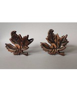 Set of 2 Dark Brown Metal Maple Leaf Napkin Rings Bronze Colored - $14.84