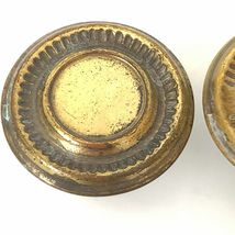2 Vintage Brass Drawer Pulls Mushroom Knobs Handles Gold Old Patina  image 6