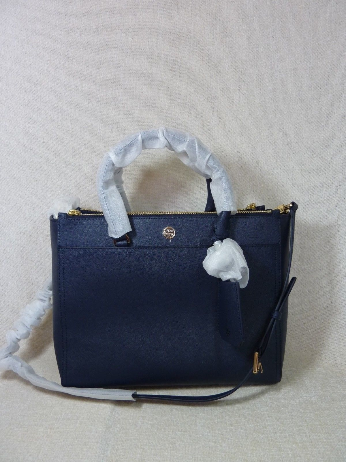 Tory Burch Navy Blue Saffiano Leather Robinson Double-Zip Tote $458