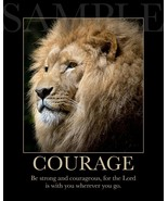 Lion Bible Scripture Picture COURAGE, BE STRONG (8X10) New Art Print Ver... - $4.99