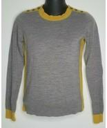 BANANA REPUBLIC Womens Colorblock Yellow Gray Wool Sweater Shirt S Long ... - $19.99