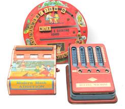 1950s Toy Lot Tin Litho Wolverine Modern Math+Adding Machine+Counting Bo... - $37.39