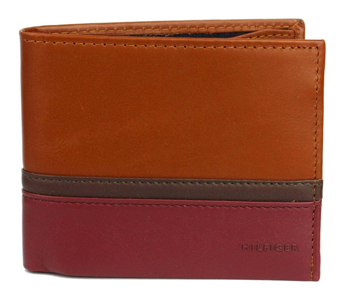 BRAND NEW TOMMY HILFIGER MEN'S LEATHER BILLFOLD WALLET SADDLE OXBLOOD 31TL13X041