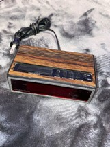 Vintage Spartus 1108 Alarm Clock Wood Grain Electric battery LCD from 80... - $43.46