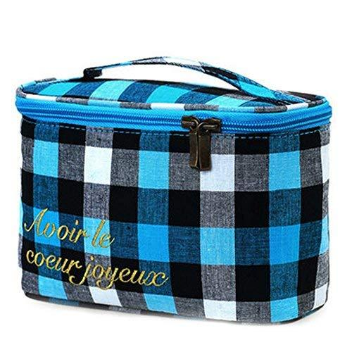 Grid Lines Cosmetic Storage Bag Jewelry Pouch