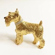 Vintage Panetta Schnauzer Dog Gold Tone Crystal Collar Brooch Pin - $57.42