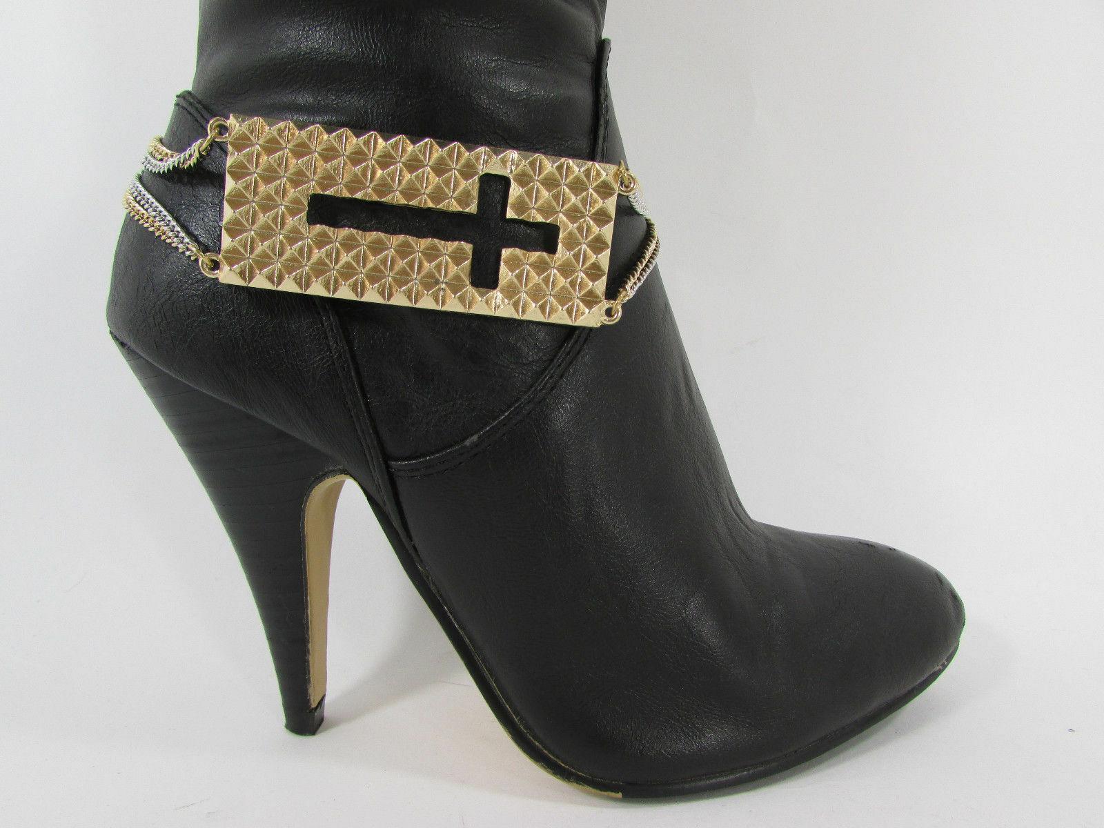 Mujer Moda Joyería Bota Brazalete Oro Placa Cruz Cadenas Zapato Bling Charm image 10