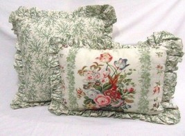 Waverly Sussex Floral Sage Green 2-PC Square and Lumbar Ruffled Toss Pillows - $56.00