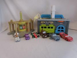 Disney Pixar Cars Tow Mater Garage + Ramone's Body Art + Cars - $52.02