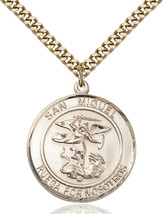 14K Gold Filled San Miguel Arcangel Pendant 1 x 5/8 inch with 24 inch Chain - $175.44