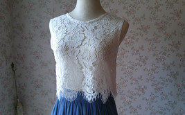 White Lace Sleeveless Crop Top Wedding Sleeveless Lace Blouse Round Neck US0-20 image 11