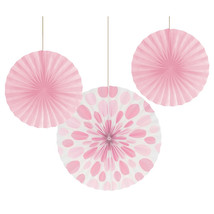 12 and 16 inch Paper Fans Dots/Stripes Classic Pink/Case of 18 - $43.65