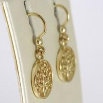 Yellow Gold Earrings 750 18k 2.4 cm pending, Tree of Life, Circle, Italy image 2