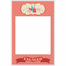 Engaged Couple Pink Engagement Selfie Frame Social Media Photo Prop Poster - $16.34+