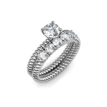 FAPPAC Set 2 Engagement Stacking Ring Enriched with Swarovski Crystals - $25.99