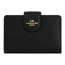 NWT COACH Medium Corner Zip Coin Card Wallet ID Black Gold Logo 6390 FRE... - $87.12