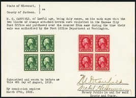 408-09, RARE Blocks With Kansas City Roulette Perforations Certified Stu... - $295.00