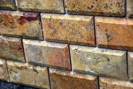 Scabos Travertine 2 X 4 Brick Mosaic Tile Honed and Deep Beveled
