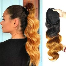 RACILY Ombre 1B/30 Body Wave Ponytail Wrap Drawstring, Dark Brown Brazil... - $35.29