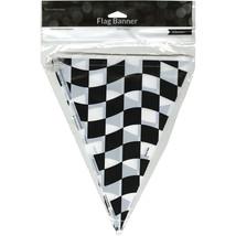 """Flag Banner 10""""X12'-Black & White Check - $4.28"""