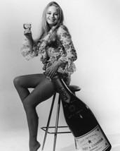 Veronica Carlson 16X20 Canvas Leggy Full Length Holding Giant Champagne Bottle - $69.99