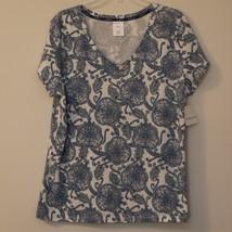 Liz Claiborne Womens Top XXL Blue White Paisley Short Sleeve V Neck New - $8.99