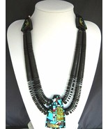 Vintage Santo Domingo Turquoise Gem Inlay Pendant 2Str Necklace Chris Ni... - $2,449.00