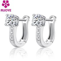 "RUOYE 925 Sterling Silver Luxury Inlaid ""U"" Design Ladies Stud Earrings ... - $10.99"