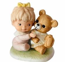 Homco Home Interior porcelain figurine sculpture gift vtg baby girl tedd... - $24.70