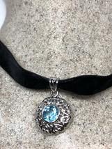 Vintage Genuine Blue Topaz 925 Sterling Silver Pendant Choker Necklace - $99.00