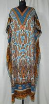 Long Paisley Kaftan Hippy Boho Maxi Dress, Free Size Women Caftan Beach Gown - $12.19